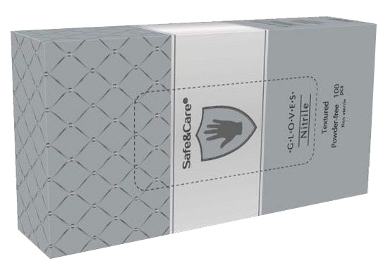 Купить SAFE & CARE Перчатки нитриловые, серебристые, размер М / Safe & Care 100 шт