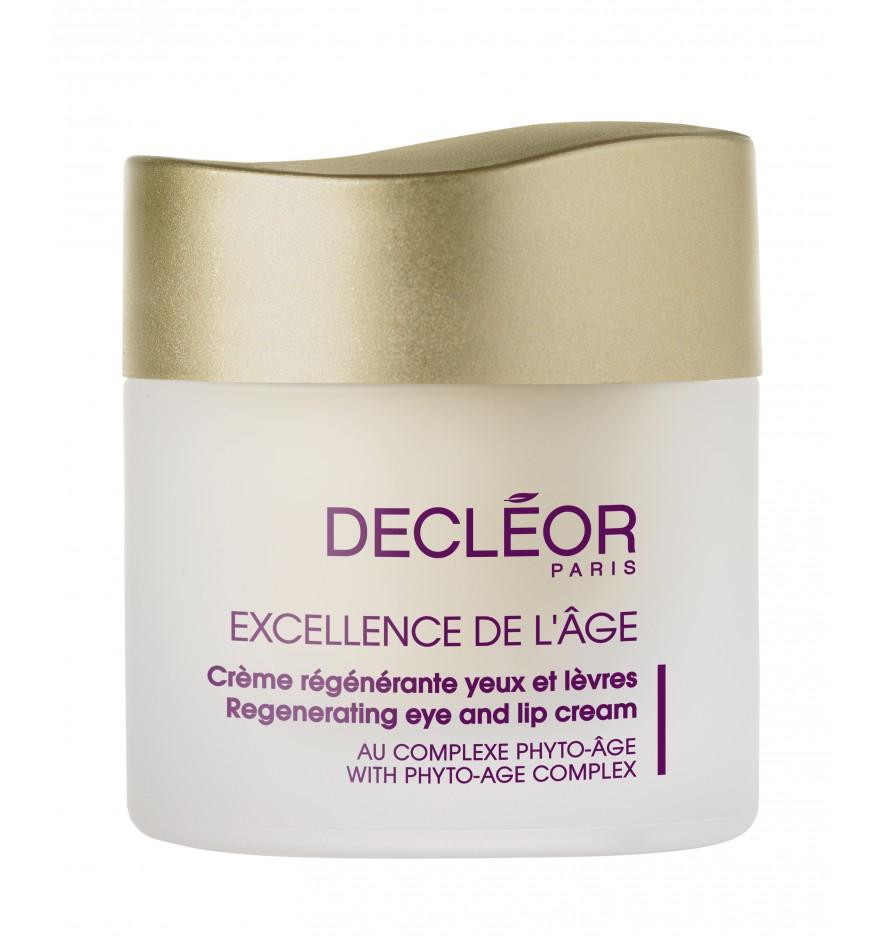 DECLEOR Крем для губ и глаз регенерирующий / EXCELLENCE DE L GE 15млКремы<br>Комплексный омолаживающий крем для чувствительных участков кожи контура глаз и губ. Для борьбы с морщинами используется уникальная технология  patch эффекта , обеспечивающая пролонгированное и интенсивное действие; для увеличения плотности кожи применяется технология  lipofilling . Содержит Отбеливающий комплекс, который регулирует пигментацию, обеспечивая осветляющий эффект. Содержит Защитный комплекс для сосудов. Восстанавливает защитные свойства клеток, повышает тонус кожи, обеспечивает моментальный и пролонгированный лифтинговый эффект. Убирает припухлости и темные круги под глазами. Активные ингредиенты: эфирные масла ладана, бессмертника, ромашки, ириса. Технология  lipofilling , экстракт аурона. Эксклюзивный комплекс  Patch . Отбеливающий комплекс (шелковица, виноградный сок, шлемник). Экстракт маргаритки, розмарина. Защитная вуаль: комбинация двух полисахаридов Акации и Водорослей. Защитный комплекс для сосудов (иглица, азиатская центелла, календула, индийский каштан и лакричник). Способ применения: наносится ежедневно утром и вечером на очищенную область вокруг глаз и губ легкими похлопывающими движениями (в направлении от внешнего уголка глаза к внутреннему; по контуру губ наносится круговыми движениями).<br><br>Возраст применения: После 50<br>Типы кожи: Чувствительная
