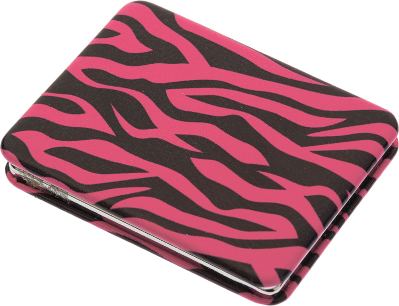 DEWAL BEAUTY Зеркало Дикая природа карманное, прямоугольное, розовый тигр 5,5х1x7 см