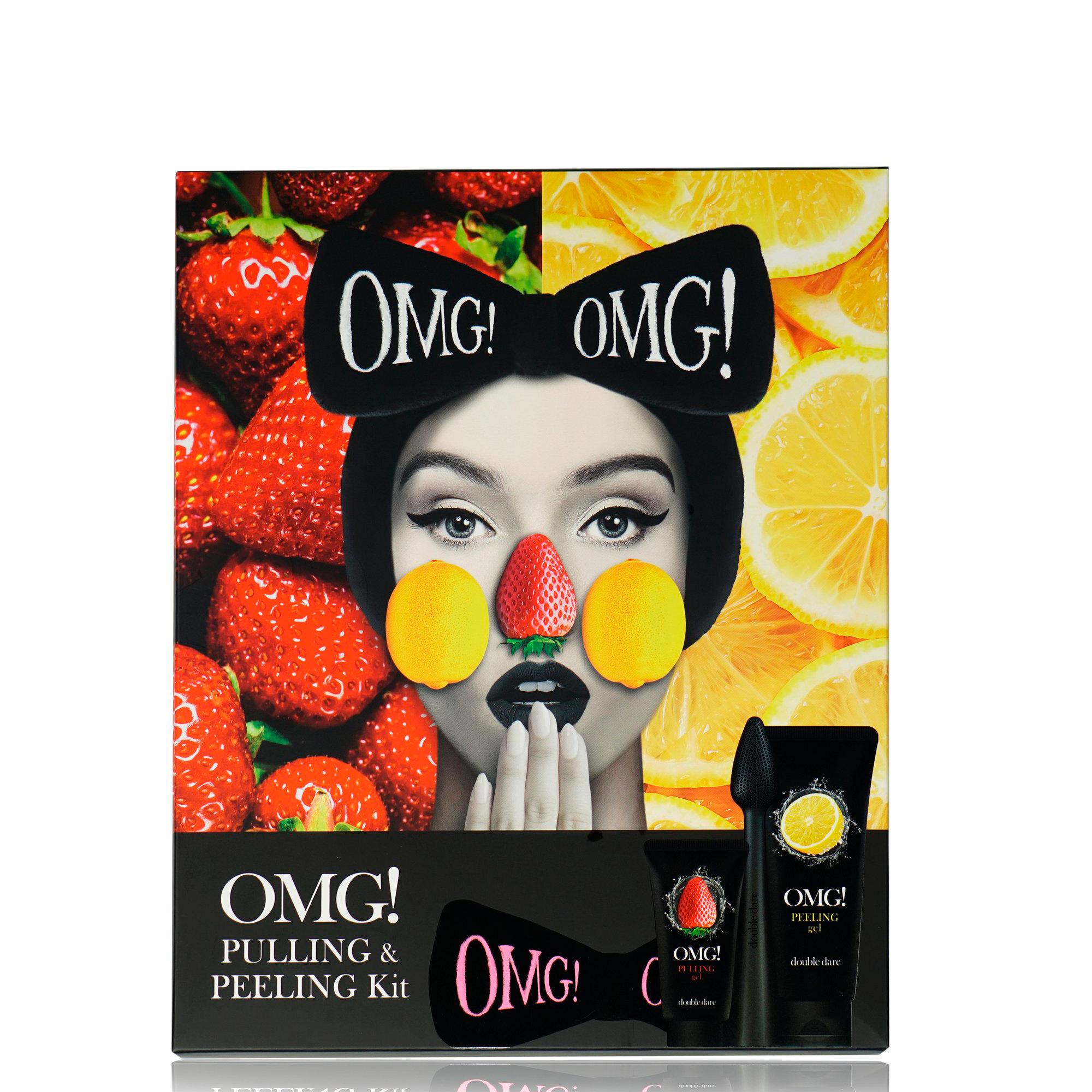 Купить DOUBLE DARE OMG! Набор для лица в подарочной коробке (2 кислотных пилинга 30г + 100 г, щёточка, чёрный бант-повязка) Double Dare OMG! PEELING & PULLING KIT