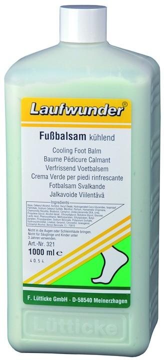 LAUFWUNDER Бальзам освежающий для ног 1000млБальзамы<br>Освежающее действие мяты и охлаждающее ментола быстро возвращает горящей коже ног энергию и хорошее самочувствие. Обладает дезедерирующим действием. Бальзам быстро и полностью абсорбируется кожей. При регулярном применении кожа восстанавливает шелковичность и мягкость. Бальзам оказывает пролонгированное действие. Состав: экстракт мяты. Способ применения: избегать попадения в глаза и на слизистые оболочки! Наносится вечером на чистую и сухую кожу ног. Не применять для детей до 3 лет.<br><br>Объем: 1000<br>Вид средства для тела: Охлаждающий<br>Назначение: Варикоз