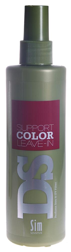 SIM SENSITIVE Спрей для яркости цвета окрашенных волос Саппорт Колор / Support Color Leave-in DS 250млСпреи<br>Несмываемый спрей &amp;laquo;Саппорт Колор&amp;raquo; входит в состав комплекса  Саппорт Колор  DS by Sim Sensitive. Главной задачей спрея является запечатывание кутикулы и защита яркости цвета. В целях достижения эффекта, в спрей включены необходимые для этого ингредиенты: витамин  Е , лимонная кислота. Волосы становятся живыми, шелковистыми и блестящими, оставаясь при этом легкими и естественными. Спрей не содержит парабены и ароматизаторы. Способ применения: Распылите небольшое количество средства по всей длине на чистые влажные волосы, слегка подсушенные полотенцем, затем распределите руками нанесенное средство по всем волосам. Не смывайте. Высушите волосы.<br><br>Вид средства для волос: Несмываемый<br>Типы волос: Окрашенные