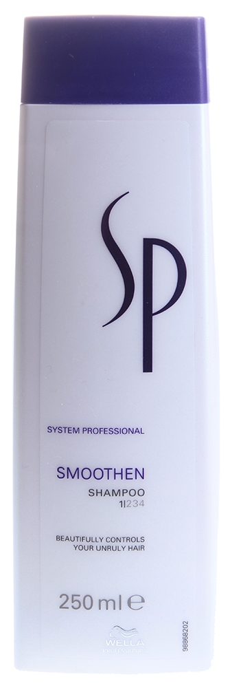 WELLA Шампунь для гладкости вьющихся и/или непослушных волос / SP Smoothen shampoo 250млШампуни<br>Шампунь для гладкости волос от Велла систем профешнл имеет в основе активный кашемировый комплекс, для сглаживания непослушных и курчавых волос. Шампунь прекрасно ухаживает за волосами, разглаживает их структуру и поверхность, сохраняя гладкость, эластичность и упругость волос, обеспечивая им эффективную защиту от чрезмерной влаги. Активный кашемировый комплекс питает и разглаживает волосы, придает им шелковистость, способствует блеску, восстановлению структуры волокон, защищая от негативных влияний внешней среды. Рекомендуется для всех типов, от слегка поврежденных и нормальных до сильных волос.  Активные ингредиенты: Масло авокадо, витамины А, В, D, Е, Н, К, зеин, экстракт кашемира.  Способ применения: Нанести на влажные волосы, взбить в пену, помассировать и смыть. Повторить при необходимости.<br><br>Вид средства для волос: Разглаживающий