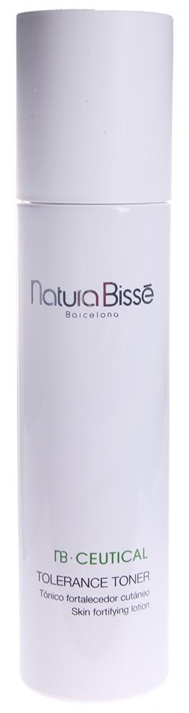 NATURA BISSE Тоник тонизирующий укрепляющий / Tolerance Toner NB CEUTICAL 200млТоники<br>Успокаивает и защищает чувствительную, раздраженную кожу, обеспечивает ей ощущение свежести и комфорта в течение длительного времени. В состав средства входит натуральный увлажняющий фактор (NMF) и растительные экстракты ромашки и бузины, которые предотвращают потерю влаги, уменьшают раздражение, восстанавливают естественное сияние кожи. Смягчает, увлажняет и освежает кожу. Активные ингредиенты (состав): Water (Aqua), Glycerin, Propylene Glycol, PEG-6 Caprylic/Capric Glycerides, Sambucus Nigra Flower Extract, Chamomilla Recutita (Matricaria) Flower Extract, Camellia Sinensis Leaf Extract, Arginine, Ethylhexylglycerin, Pentylene Glycol, Urea, Lactic Acid, Sodium Lactate, Serine, Sorbitol, Allantoin, Sodium Chloride, PEG-40 Hydrogenated Castor Oil, Disodium EDTA, Potassium Sorbate, Sodium Benzoate, Phenoxyethanol, Fragrance (Parfum), Flavor (Aroma), Caramel. Способ применения: тоник можно использовать несколько раз в день. Наносить на предварительно очищенную кожу лица, шеи и декольте.<br><br>Типы кожи: Чувствительная
