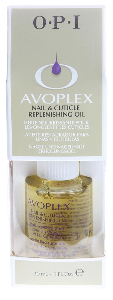 OPI Масло для ногтей и кутикулы Авоплекс / Nail &amp; Cuticle Replenishing Oil AVOPLEX 30млДля кутикулы<br>Натуральное масло авокадо, включающее в себя витамины А, B, D, E и лецитин, смягчает и питает кутикулу и матрикс ногтя. Кроме того, в состав входят: масла виноградных косточек, подсолнуха, кунжута. Не содержит синтетических добавок, отдушек и красителей. Идеальный уход за ногтями в салоне и дома. Замедляет нарастание кутикулы, способствует росту натуральных ногтей. Способ применения:  Одна капля масла наносится на кутикулу в завершающей стадии маникюра. Мягко втирать масло в область кутикулы в течение минуты. Рекомендуется наносить ежедневно в домашних условиях.<br><br>Объем: 30<br>Типы ногтей: Нормальные