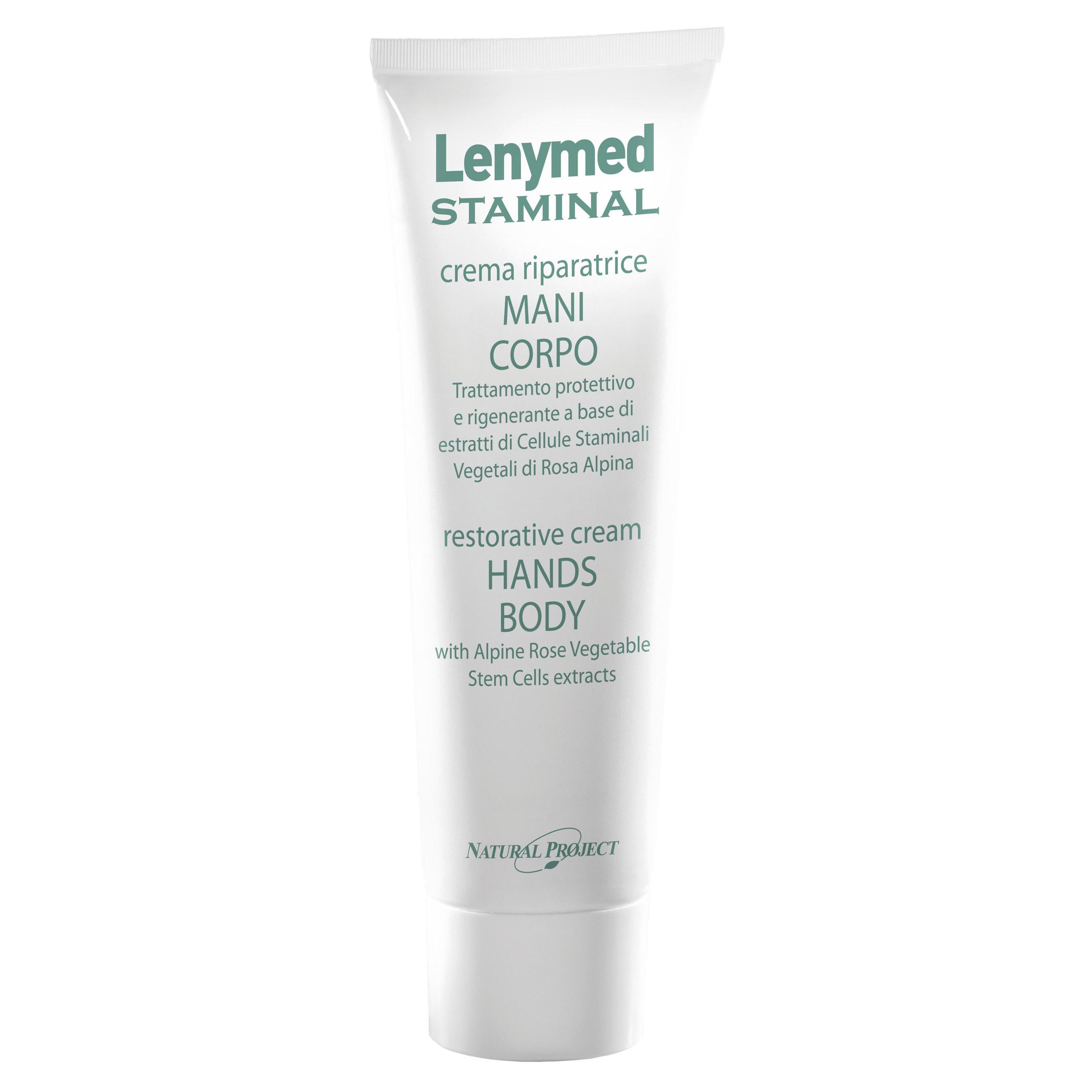 IODASE Крем для рук и тела / Lenimed staminal 150 млКремы<br>Все типы кожи, независимо от возраста, часто испытывают стресс, который приводит к сухости и раздражению кожи, к ее покраснению и появлению мелких трещин. Этот крем, содержащий гиалуроновую кислоту, стволовые клетки альпийской розы, экстракт алое, ферменты морских бактерий эффективно увлажняет кожу, стимулирует ее регенерацию, восстанавливает клетки эпидермиса. Крем действует на глубине, защищая даже здоровую кожу от раздражения, которому она может подвергаться под действием солнца или холода, излишней влажности или сухости. Уже после первого применения вы ощутите как кожа станет мягкой и шелковистой. Нежный крем жидкой консистенции не оставляет &amp;laquo;жирных&amp;raquo; следов &amp;ndash; он легкий, быстро впитывается, моментально успокаивает кожу.  Активные ингредиенты: Стволовые растительные клетки альпийской розы, гиалуроновая кислота.  Способ применения: Наносить крем 1-2 раза в день на интересующие зоны, массируя до полного впитывания средства.  Меры предосторожности и противопоказания: Избегать попадания в глаза и на слизистые части, в случае попадания немедленно промыть водой. Предназначено для наружного применения. Хранить в прохладном месте, не доступном для детей. Не применять во время беременности и при грудном вскармливании.<br><br>Назначение: Трещины<br>Консистенция: Жидкая