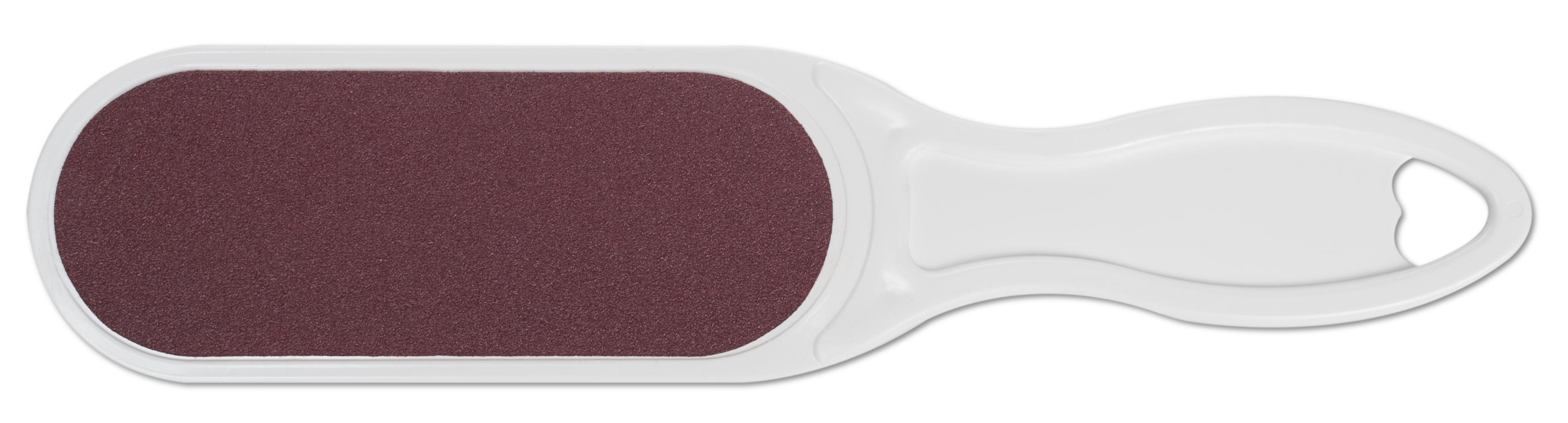 DOMIX Терка абразивная педикюрная двусторонняя с пластиковой ручкой, белый