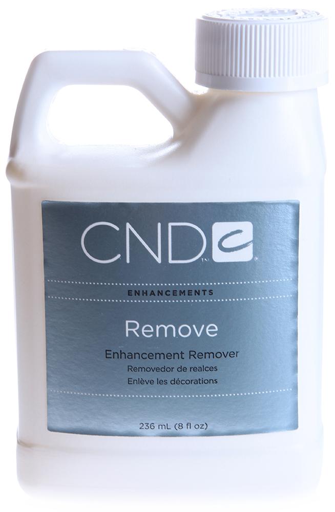 CND Средство для удаления искуственных ногтей / Remove 236млСнятие лака<br>Самый лучший и чрезвычайно эффективный из имеющихся ана логов растворителей акрила, типсов, тканевых покрытий. Оказывает мяг кое и быстрое воз действие, одновремен но увлажняя ногти. Содержит компонент алоэ вера, чтобы предотвратить чрезмерное высыхание кожи и ногтей. Не использовать в пластиковой емкости. Способ применения: Отмачивать искусственные ногти в течение 10 минут. После размягчения удалить их маникюрной палочкой. Затем обработать натуральные ногти маслом Solar Oil.<br><br>Объем: 236