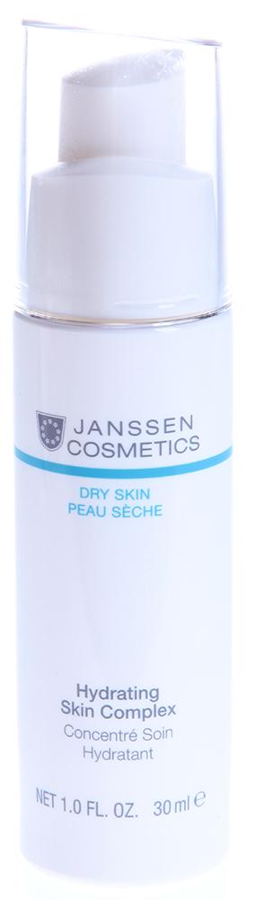 JANSSEN Концентрат суперувлажняющий с гиалуроновой кислотой / Hydrating Skin Complex DRY SKIN 30млКонцентраты<br>Скорая помощь для обезвоженной кожи! Концентрат интенсивно увлажняет кожу на всех уровнях. Это возможно благодаря его формуле, в которую включена полученная биотехнологическим путем гиалуроновая кислота с короткой и длинной цепью. Глубоко проникая в кожу, она эффективно утоляет ее жажду и способствует удержанию влаги, поддерживает структуру соединительной ткани, разглаживает морщины, вызванные сухостью, мгновенно наделяет лицо свежестью и сиянием! Активные ингредиенты: гиалуроновая кислота с короткой и длинной цепью, экстракты водорослей Codium tomentosum, экстракт Imperata cylindrica, полисахариды. Способ применения: наносите Hydrating Skin Complex курсом утром и/или вечером. Распределите небольшое количество продукта (2 нажатия) по чистой коже лица. Продукт впитывается без остатка. Затем поверх нанесите подходящий дневной или ночной крем. В салоне применять согласно регламенту процедуры.<br><br>Вид средства для лица: Увлажняющий<br>Типы кожи: Сухая и обезвоженная<br>Назначение: Морщины