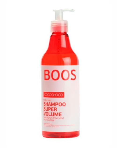 COCOCHOCO Шампунь для придания объема / BOOST-UP 500 млШампуни<br>Шампунь Boost-Up Shampoo Super Volume предназначен для тонких, лишённых объёма волос. Возвращает волосам плотность, делает их более сильными и крепкими, придаёт объём и позволяет сохранить его надолго. Приподнимает волосы от корней, придавая им пышность. Идеально подходит для ухода за волосами после процедуры кератинового восстановления. Способ применения: нанести необходимое количество шампуня на влажные волосы и кожу головы, помассировать. Смыть теплой водой. Активные ингредиенты: смягчение (масла): аргана, олива. Питание (экстракты): сверция японская, лопух, овес, алоэ. Восстановление (аминокислоты): гиалуроновая кислота, альгинаты, пантенол D-5. Уплотнение (протеины): протеин пшеницы, натуральный кератин, протеин сои, молочный казеин. Текстура: силанетриол, феноксиэтанол, бензиловый спирт.<br><br>Объем: 500 мл<br>Типы волос: Тонкие