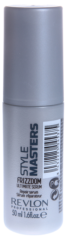 REVLON Сыворотка закрепляющая / STYLE MASTERS FRIZZDOM 50мл~Сыворотки<br>Специалисты из американской компании Revlon Professional разработали сыворотку Ultimate Serum для применения после кератинового кондиционера &amp;ndash; как двух шаговый уход. Благодаря средству Ваши волосы становятся мягкими, шелковистыми и подвижными. Уникальное сочетание силиконов и масел в составе продукта обеспечивает волосам восхитительный блеск. Сыворотка запечатывает кончики волос, предотвращая сечение, и не утяжеляет причёску. Frizzdom Ultimate Serum подарит Вашим волосам мягкость, блеск и нежность шёлка!  Способ применения: Нанесите небольшое количество на кончики влажных или сухих волос. Не смывайте.<br><br>Назначение: Секущиеся кончики
