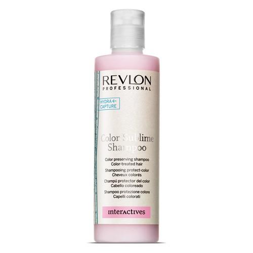 REVLON Шампунь для сохранения цвета окрашенных волос / INTERACTIVES COLOR SUBLIME 250млШампуни<br>Шампунь Color Sublime Shampoo от компании Revlon создан для сохранения цвета окрашенных волос, он удерживает пигмент в локонах, предотвращая тем самым потерю их цвета. Средство деликатно очищает волосы, делает их невероятно блестящими и шелковистыми. Благодаря специальной технологии Color Care шампунь действует изнутри и возвращает окрашенным волосам их естественную красоту и силу. В профессиональной формуле средства объединены активные защитные и регенерирующие ингредиенты. Цвет волос надолго сохранят свою стойкость и интенсивность. Цветовые пигменты удерживаются в структуре волос, предотвращается вымывание цвета.  Способ применения: Небольшое количество шампуня наносится массирующими движениями на увлажнённые волосы. В течение нескольких минут помассируйте волосы, затем смойте.<br><br>Класс косметики: Профессиональная<br>Типы волос: Окрашенные