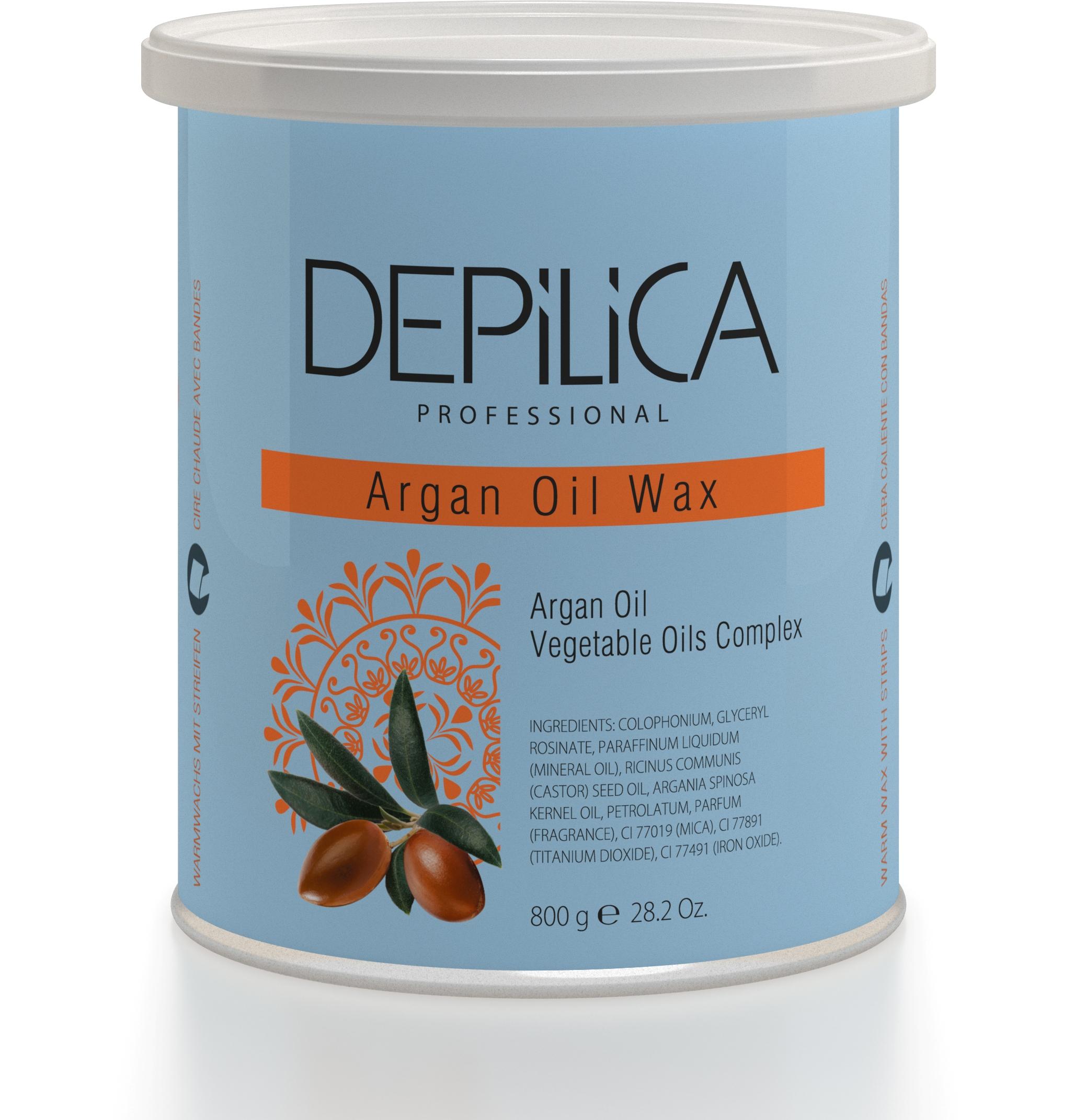 DEPILICA PROFESSIONAL Воск теплый с маслом Арганы / Argana Oil Warm Wax 800грВоски<br>Содержит аргановое масло, противовоспалительные и восстанавливающие свойства которого обеспечивают комфортную эпиляцию, увлажнение и питание кожи. Обладает полупрозрачной перламутровой текстурой и восточным ароматом. Рекомендуется для сухой кожи. Универсальные картриджи воска подходят для всех стандартных нагревателей. Они оснащены роликом-аппликатором что очень удобно для быстрого и чистого нанесения.<br><br>Типы кожи: Сухая