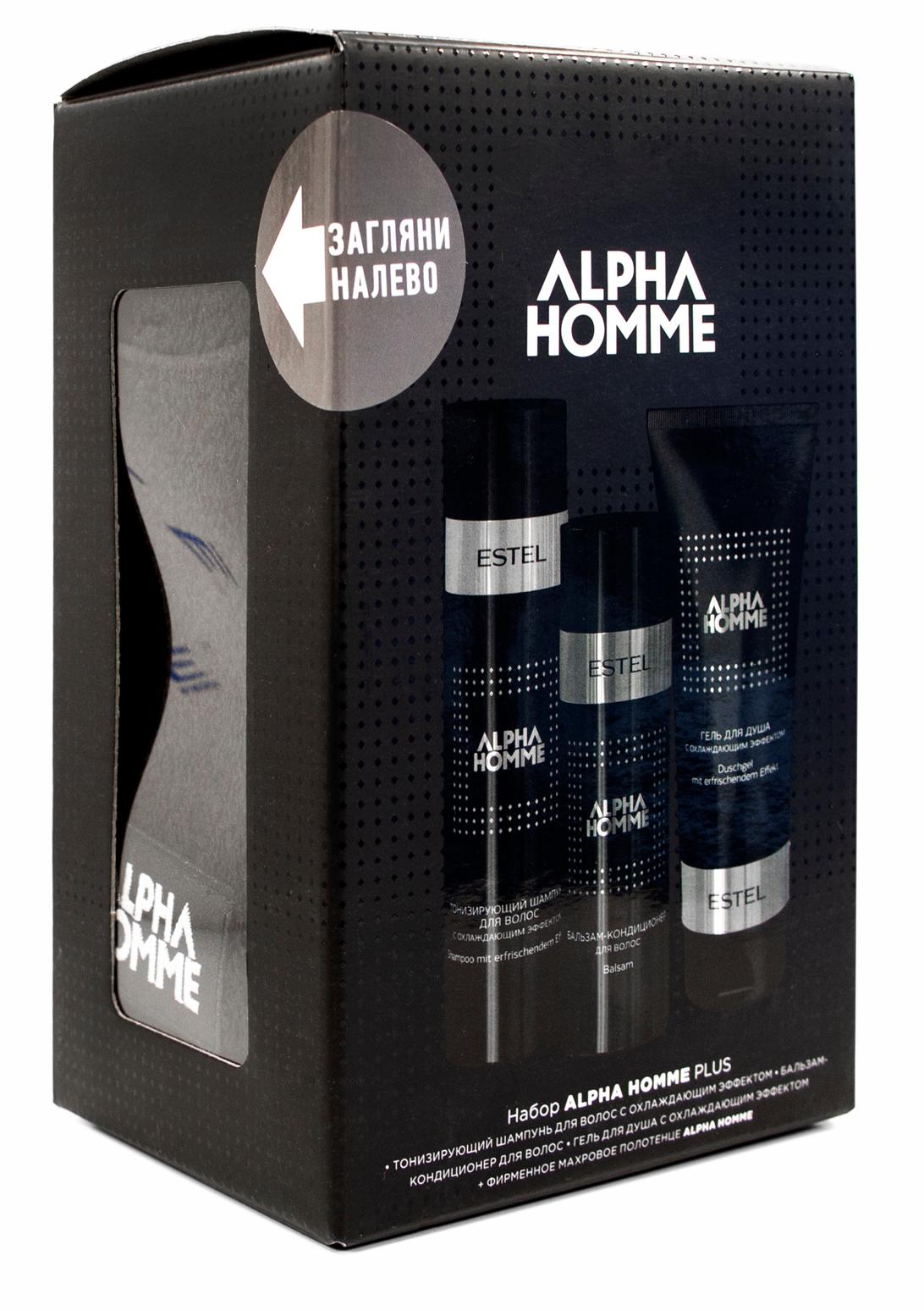 ESTEL PROFESSIONAL Набор для мужчин (тонизирующий шампунь, бальзам для волос, гель для душа, фирменное полотенце) / ALPHA HOMME PLUS