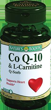 NATURE'S BOUNTY Коэнзим Q-10и L-карнитин, капсулы 1580 мг № 60