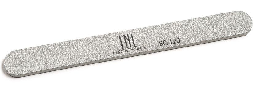 TNL PROFESSIONAL Пилка узкая для ногтей 80/120, серая (в индивидуальной упаковке)