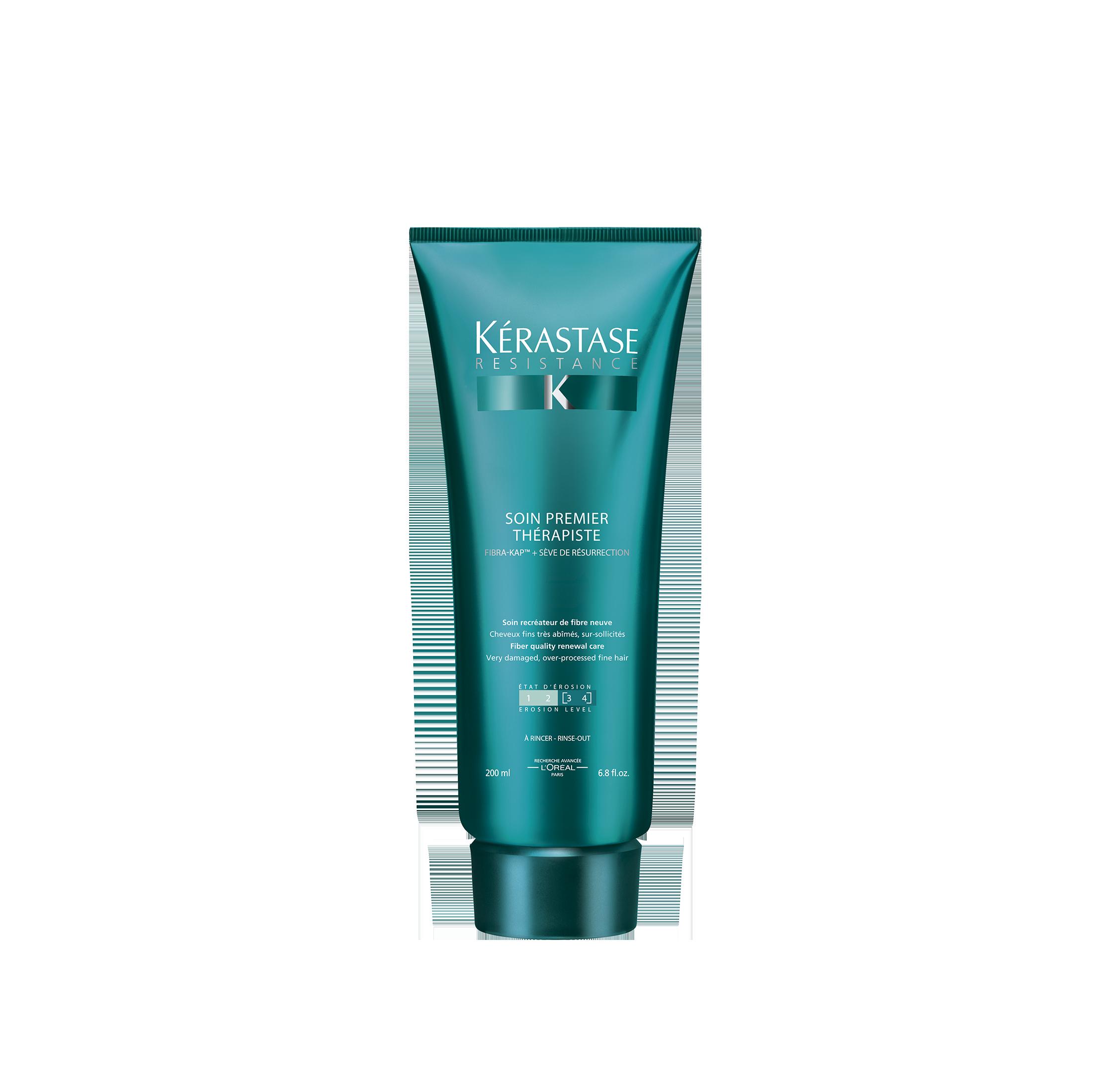 KERASTASE Уход - восстановление сильно поврежденных волос степень повреждения 3-4 / THERAPISTE 200млОсобые средства<br>Уход, нежно восстанавливающий материю волос, не утяжеляя их. Используется перед шампунь-ванной. Для тонких волос. Преимущества: смываемый Уход Премьер восстанавливает материю сильно поврежденных волос, регулярно подвергающихся негативным воздействиям: механическому, химическому и термическому. Не утяжеляет тонкие волосы. Активные ингредиенты:   Комплекс FIBRA-KAP  / ФИБРА- КЭПт  компенсирует недостаток белков, сопутствующих кератину в структуре волоса, и стимулирует их синтез.   Гликозид сафлора (SP94) снабжает фолликул энергией, необходимой для активации синтеза KAPs (белков, сопутствующих кератину)*.   6 аминокислот характеризуются своей способностью заполнять поврежденные участки волоса.   Гидролизованный Протеин пшеницы способствует восстановлению материи волос.   Растительный сок миротамнуса известный также как  оживающее растение , способствует процессу восстановления. * Тест in vitro. Способ применения: нанести на влажные волосы перед применением Шампунь-Ванны, оставить для воздействия на 1-2 минуты. Тщательно смыть и приступить к нанесению Шампуня-Ванны Th rapiste.<br><br>Объем: 200 мл<br>Вид средства для волос: Восстанавливающий