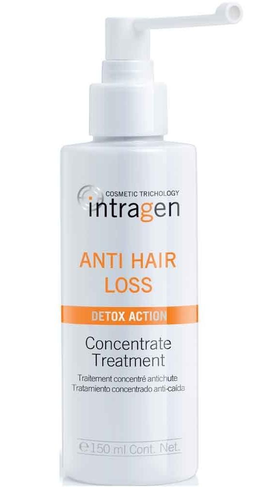 REVLON Средство против выпадения волос / INTRAGEN 150млКонцентраты<br>Эффективное средство против выпадения волос, без очищения. Используется в качестве дополнения к шампуню. Значительно сокращает выпадение волос. Укрепляет корни. Уникальный флакон с дозатором и длинным наконечником позволяет наносить средство локально, непосредственно на кожу головы, проникая на проблемные участки кожи. Обогащенная натуральными компонентами формула помогает точно и максимально результативно повлиять на приостановление потери волос. Не вызывает аллергии. Обеспечивает защиту волос до самой глубины - эффективное лечение и косметический эффект. Кератин укрепляет структуру волос, делая их более эластичными и прочными. Гиалуроновая кислота увлажняет волосяное волокно, волосы становятся более густыми и объемными. В результате применения системы шампунь + концентрат + пластырь Intragen Cosmetics Trichology Anti Hair Loss Detox Action уже после 2-х месяцев применения отмечено уменьшение выпадения волос на 40%, и появление до 3000 новых волосков*. *Результат научного эксперимента при участии мужчин и женщин: 30 человек тестировали продукцию системы Intragen Cosmetics Trichology Anti Hair Loss Detox Action шампунь + концентрат. Активные ингредиенты: кератин, гиалуроновая кислота. Способ применения: наносить из дозатора по проборам, 20-25 нажатий дозатора, мягкими массажными движениями распределить на коже всей головы. Не смывать.<br><br>Пол: Женский<br>Класс косметики: Косметическая<br>Назначение: Выпадение
