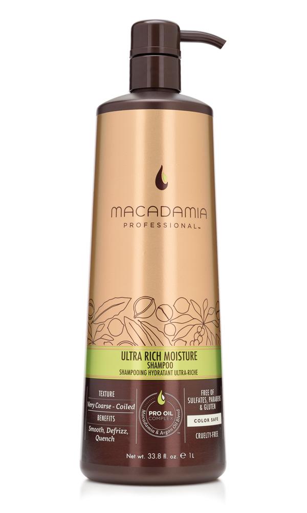 MACADAMIA PROFESSIONAL Шампунь увлажняющий для жестких волос / Ultra rich moisture shampoo 1000млШампуни<br>Шампунь Macadamia Professional обеспечивает глубокое увлажнение волос и кожи головы благодаря сочетанию эксклюзивного комплекса PRO OIL COMPLEX, масел авокадо и монгонго. Убирает эффект пушистости, делает волосы мягкими. Содержит UVA/UVB фильтры, сохраняя цвет окрашенных волос. Защищает волосы от неблагоприятных факторов окружающей среды. Преимущества: Гладкость, контроль пушистости Ультра увлажнение Сохранение цвета окрашенных волос Без сульфатов, парабенов и глютена Активные ингредиенты: Масло макадамии, Омега 7, 5 и 3 жирные кислоты обеспечивают увлажнение Масло арганы, Омега 9 жирные кислоты восстанавливают и укрепляют Масло авокадо и монгонго - устраняет эффект пушистости. Состав: Вода, У14-16 Олефин сульфонат натрия, Кокамидопропил Бетаин, Кокамид МоноЭтанолАмин, Изетионат натрия, Масло макадамии, отдушка, Аргановое масло, Масло Авокадо, Масло Монгонго, Гель Алоэ вера, Фосфолипиды, Ацетат Витамина Е, Ретинил пальмитат (витамин А), Аскорбил пальмитат, Глицерин, Пантенол, Аминокислоты Шелка, Гликоль стеарат, Хлорид Натрия, Натрия глицинат кокоил, Диоксид титана, Мика, Оксиды железа, Гуар гидроксипропил-тримониум хлорид, Гидролизованный казеин, PPG-2 Hydroxyethyl Coco/Isostearamide, ППГ-2 гироксиетил коко/изостеарамид, Дисодиум ЕДТА, Кополимер гидролизованного белка пшеницы, Феноксиэтанол, Метилхлороизотиазолин, метилизотиазолинон, Лимонная кислота, Кватерниум-95, Пропандиол, Бензил Салицилат, Бутилфенил Метилпропионал, Гексил Циннамал, Линалоол, Способ применения: нанесите небольшое количество шампуня на влажные волосы, распределите массажными движениями. Смойте. При необходимости, повторите<br><br>Вид средства для волос: Увлажняющий<br>Типы волос: Для всех типов