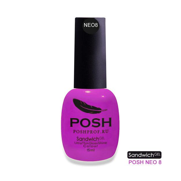Купить POSH NEO8 гель-лак неоновый на 25 дней Фиолетовая фата / SENDVICH GEL UV/LED 15 мл, Фиолетовые