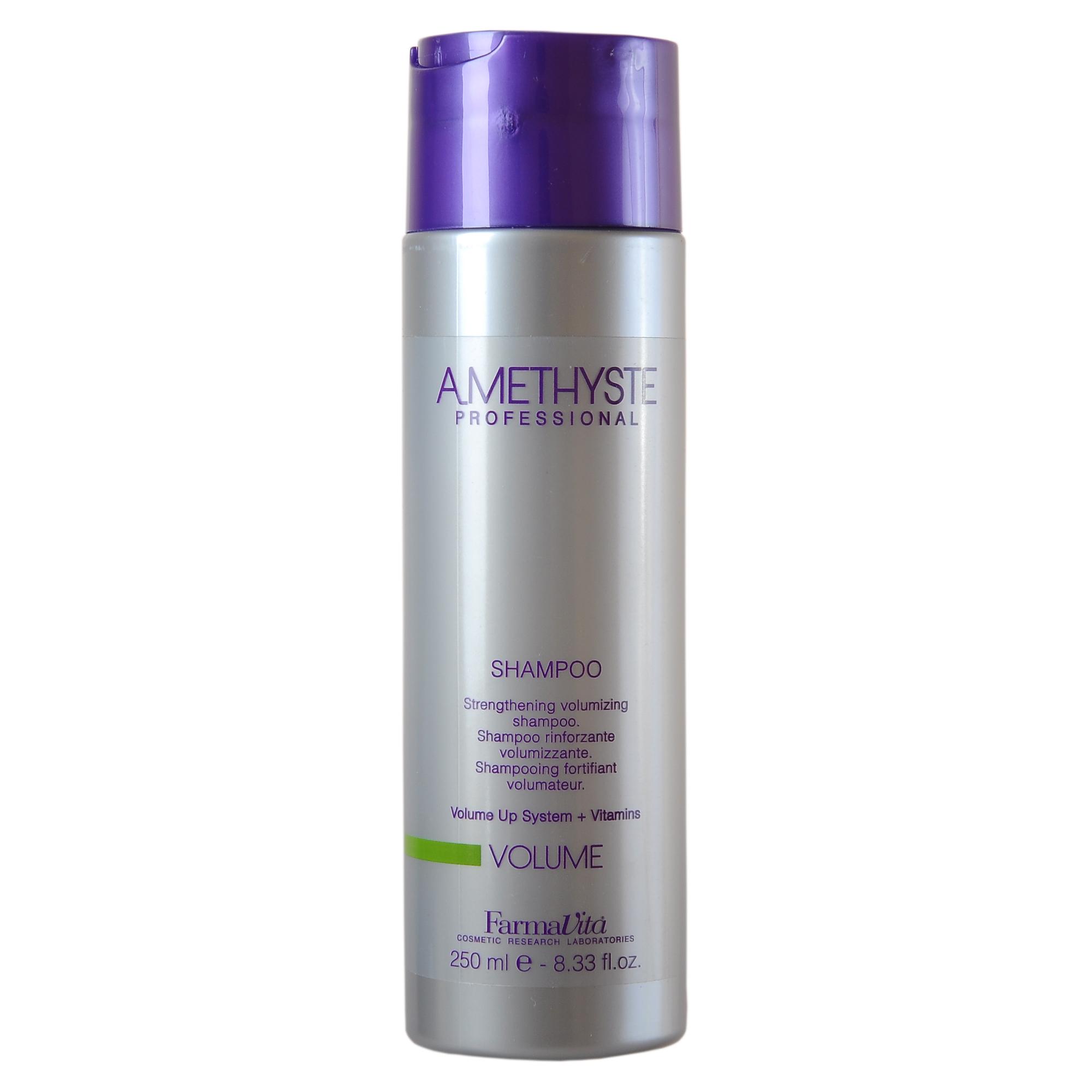 FARMAVITA Шампунь для объема Amethyste volume shampoo / AMETHYSTE PROFESSIONAL 250 млШампуни<br>Шампунь Amethyste Volume дарит волосам объём, силу и живую энергию от корней до самых кончиков. Волосы обретают натуральную плотность, блеск и легкость. Шампунь насыщен комбинацией полимеров и витаминов, работающих вместе, чтобы создать структуру невесомых волос. Использует уникальную технологию Volume Up, которая придает дополнительные объем и силу, одновременно увлажняя и придавая блеск. Активные ингредиенты: витамины - придают внутреннюю силу. Контурные полимеры - сохраняют природную эластичность волос. Пантенол - глубоко проникает в структуру и позволяет сбалансировать естественный уровень влаги в волосах. Способ применения: равномерно нанести шампунь на увлажненные волосы и кожу головы. Вспенить, распределить аккуратными массажными движениями. Смыть. При необходимости процедуру повторить. При использовании в комбинации с кондиционером Amethyste Volume достигается максимальный эффект.<br><br>Объем: 250 мл
