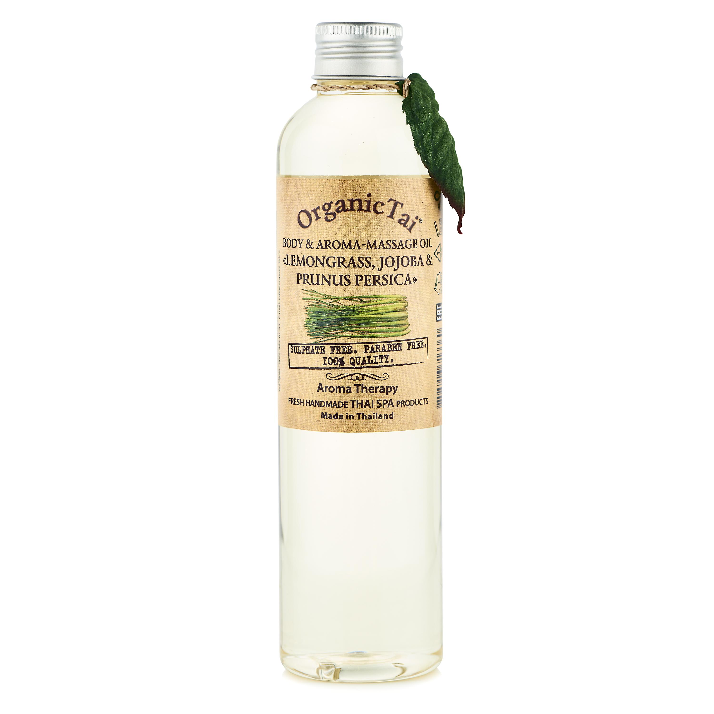 ORGANIC TAI Масло для тела и аромамассажа Лемонграсс, жожоба и персик 260мл