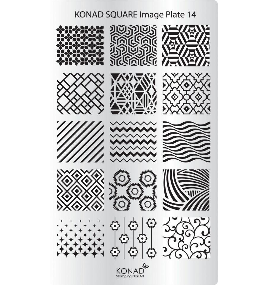 KONAD Пластина прямоугольная / Square Image Plate14 30гр