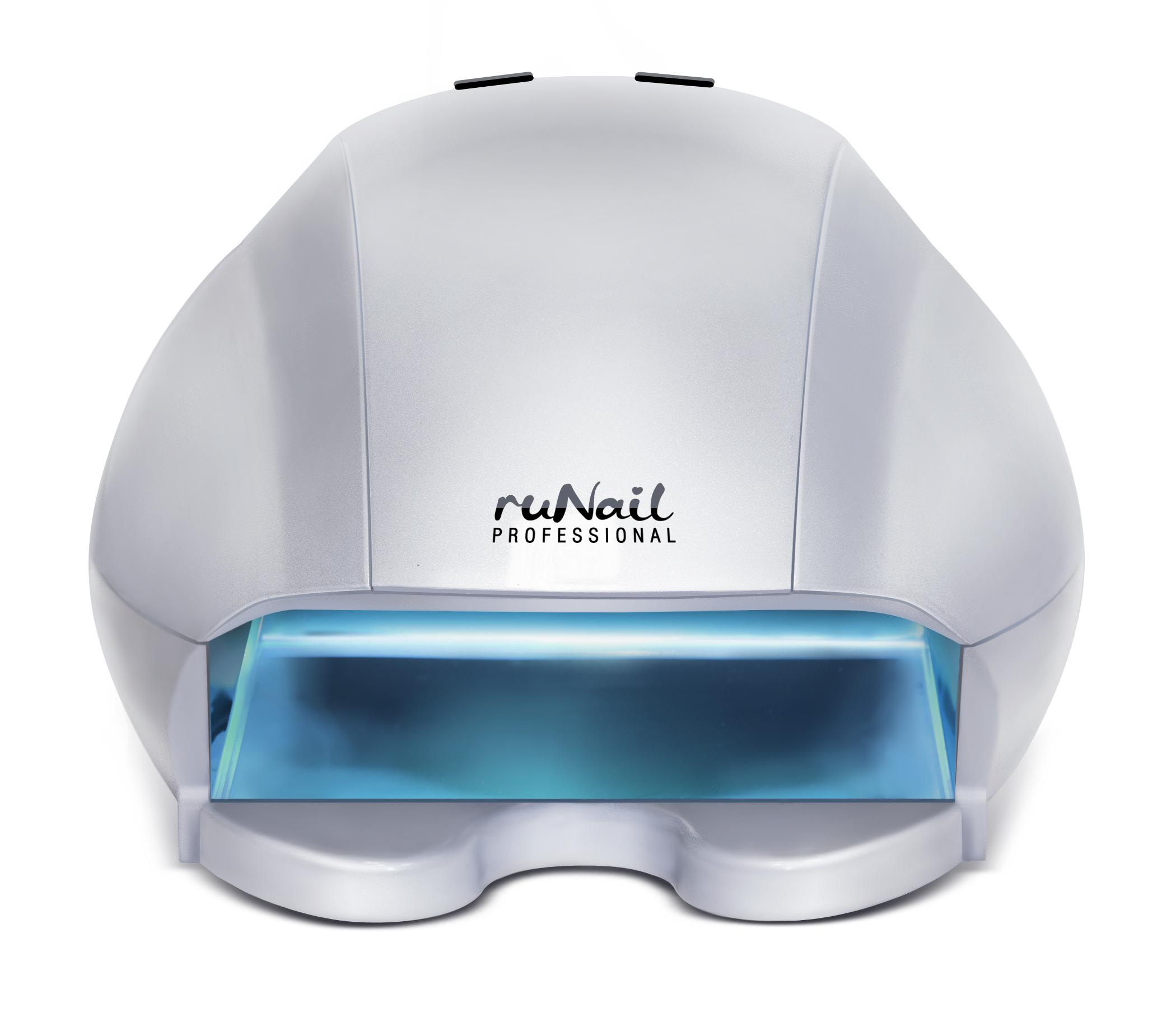 RuNail Лампа UV-LED 12 Вт. (серебряная)Косметологическое оборудование<br>Универсальная UV-LED Лампа   это прибор со совмещенной технологией ультрафиолетового и светодиодного излучения. Лампа предназначена для полимеризации гелей, гель-лаков, перманентных лаков, биогелей, уф-сушек, уф-акрилов и других материалов. Основное отличие UV-LED лампы от обычной LED лампы заключается в том, что в ней могут полимеризоваться не только гель-лаки и биогели, но и обычные однофазные и трехфазные уф-гели, а также другие уф-материалы. Излучение лампы не оказывает вредного воздействия на кожу рук и глаза. При полимеризации геля у клиенток нет ощущения жжения. Технические характеристики: мощность   12 Вт; номинальное напряжение   220В; частота   50-60 ГЦ; таймер   30, 60, 120 сек.; кол-во светодиодов: 102 шт.; кол-во уф-ламп: 2 шт.<br>