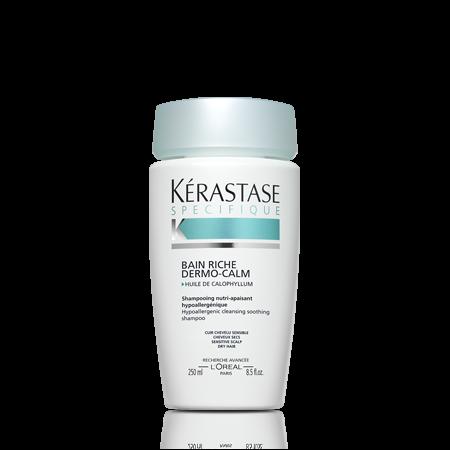 KERASTASE Шампунь для чувствительной кожи головы и сухих волос / DERMO-CALM SENSIDOTE 250млШампуни<br>Гипоаллергенный, очищающий, успокаивающий шампунь для чувствительной кожи головы и сухих волос. Шампунь Dermo-Calm делает волосы мягкими и гладкими. Успокаивает кожу головы и насыщает ее питательными веществами, мгновенно оказывая расслабляющее воздействие. Кремовая формула шампуня Dermo-Calm насыщена косметическими веществами, необходимыми для питания сухих волос. Активные ингредиенты:   Масло калофилла: успокаивает кожное раздражение   Пироктоноламин: предотвращает возникновение зуда   Глицерол: расслабляет и смягчает кожу головы   Производное ментола: мягко освежает кожу головы Формула гипоаллергенна и была протестирована под контролем дерматологов. Способ применения: Нанесите на влажные волосы. Массирующими движениями распределите средство, тщательно смойте. При необходимости повторить.<br><br>Вид средства для волос: Очищающий<br>Тип кожи головы: Чувствительная<br>Типы волос: Сухие