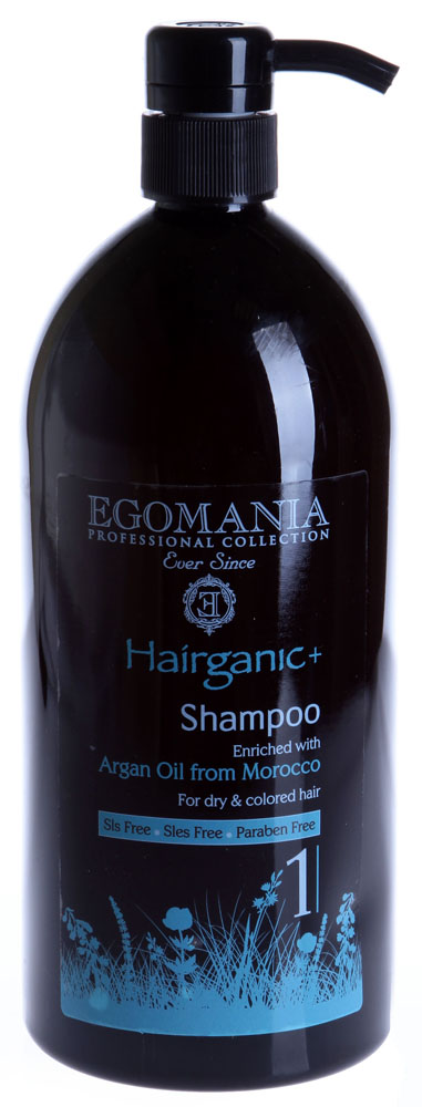 EGOMANIA Шампунь с маслом аргана для сухих и окрашенных волос / HAIRGANIC 1000млШампуни<br>Шампунь для ухода за сухими, окрашенными волосами, обогащен минералами Мертвого моря и маслом аргана. Действие: Нежно очищает волосы, не будет раздражать даже самую чувствительную кожу головы. В составе шампуня есть масло сладкого миндаля и лаванды. Эти ингредиенты восстанавливают и питают волосы, делая их более мягкими и послушными. Активные ингредиенты: масло сладкого миндаля и лаванды, аргана и минералы Мертвого моря. Не содержит SLS, SLES и парабенов. Способ применения: Нанесите на влажные волосы, вспеньте. Промойте водой.<br><br>Тип кожи головы: Чувствительная