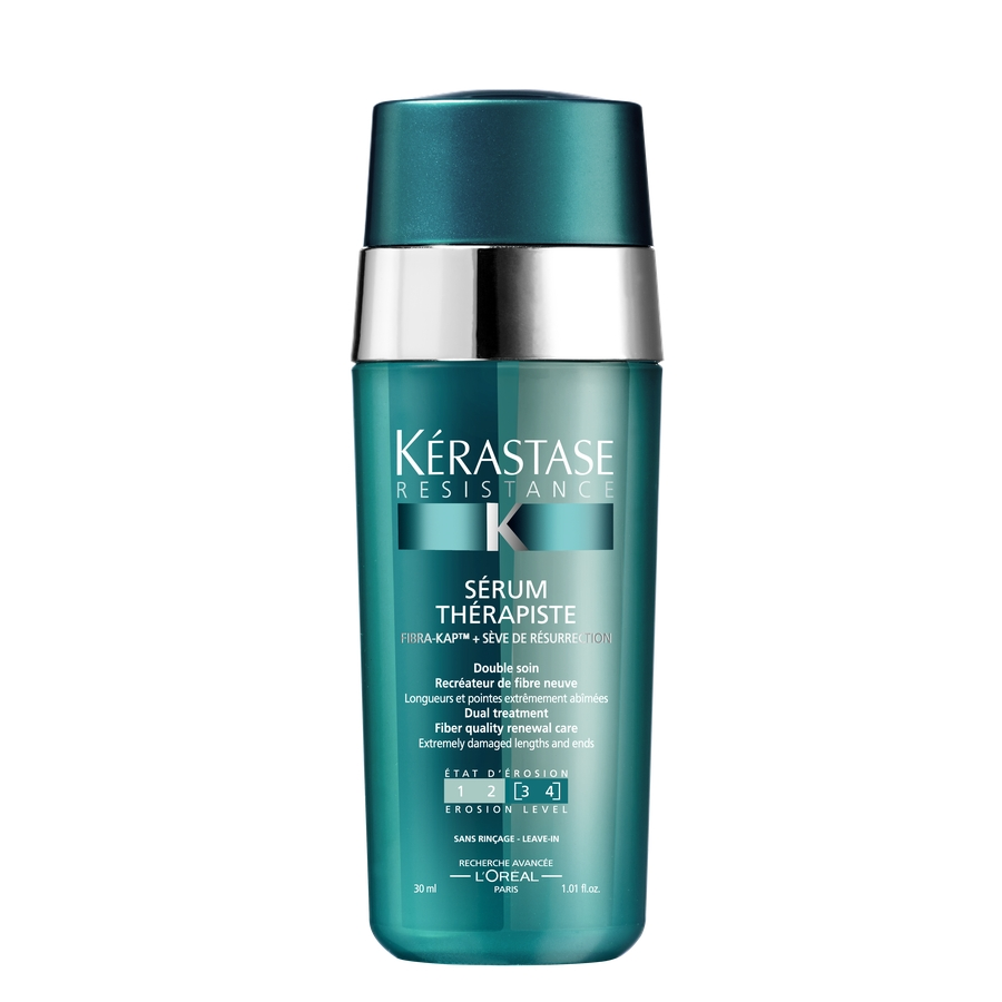 KERASTASE Сыворотка восстановление сильно поврежденных волос степень повреждения 3-4 / THERAPISTE 30млСыворотки<br>Несмываемый уход - Двухфазная Сыворотка восстанавливает материю по длине и на кончиках сильно поврежденных волос, регулярно подвергающихся негативным воздействиям: механическому, химическому и термическому. Для сильно поврежденных и ломких волос (степень повреждения 3-4). Для всех типов поврежденных волос. Восстанавливает, укрепляет и обновляет материю волос. Мгновенно запечатывает секущиеся кончики. &amp;nbsp;Активные ингредиенты: Комплекс FIBRA-KAP  / ФИБРА- КЭПт  компенсирует недостаток белков, сопутствующих кератину в структуре волоса, и стимулирует их синтез.&amp;nbsp; Гликозид сафлора (SP94) снабжает фолликул энергией, необходимой для активации синтеза KAPs (белков, сопутствующих кератину)*. 6 аминокислот характеризуются своей способностью заполнять поврежденные участки волоса.&amp;nbsp; Гидролизованный Протеин пшеницы способствует восстановлению материи волос.&amp;nbsp; Растительный сок миротамнуса, известного также как  оживающее растение , способствует процессу восстановления.&amp;nbsp; Способ прменения: выдавить на ладонь, растереть и распределить продукт по длине и на кончики волос. Наносить на влажные волосы перед использованием термо-инструментов для укладки или на сухие волосы в качестве завершающего ухода. Не смывать.<br><br>Объем: 30 мл<br>Вид средства для волос: Несмываемый<br>Назначение: Секущиеся кончики