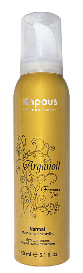 KAPOUS Мусс для укладки волос нормальной фиксации с маслом арганы / Arganoil 150млМуссы<br>Мусс для волос нормальной фиксации предназначен для всех типов волос. Фиксируя объем, делает любую прическу естественной, обеспечивает длительный результат. Масло Арганы придает волосам естественный блеск, предотвращает иссушение, защищает волосы от воздействия горячего фена и солнечных лучей. Способ применения: перед использованием баллон хорошо встряхнуть в течении 10-15 секунд! Направив баллон вниз, выдавить необходимое количество мусса и равномерно распределить по волосам. Высушить привычным способом.<br>