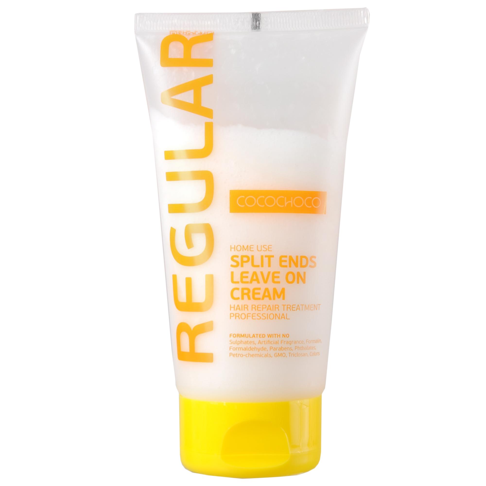 COCOCHOCO Крем для секущихся кончиков / REGULAR 150 млКремы<br>Средство для устранения секущихся кончиков Cocochoco Split Ends Leave on Cream - восполняет рассеченные кончики питательными веществами и витаминами. Восстанавливает и уплотняет структуру волос, предотвращая дальнейшее сечение. Поддерживает эффект кератинового восстановления волос. Активные ингредиенты: смягчение (масла): аргана. Питание (экстракты): сверция японская, лопух, овес, алоэ. Восстановление (аминокислоты): гиалуроновая кислота, альгинаты, пантенол D-5, токоферил ацетат (витамин Е). Уплотнение (протеины): протеин пшеницы, натуральный кератин, протеин сои, молочный казеин. Текстура: глицерид мускатного ореха, силанетриол, феноксиэтанол, бензиловый спирт, гидролизованный крахмал, триглицерид каприловой кислоты Способ применения: выдавите небольшое количество крема на ладонь и разотрите, нанесите на вымытые влажные волосы от середины длины до кончиков. Не смывайте. При попадании в глаза тщательно промойте их водой.<br><br>Объем: 150 мл<br>Назначение: Секущиеся кончики