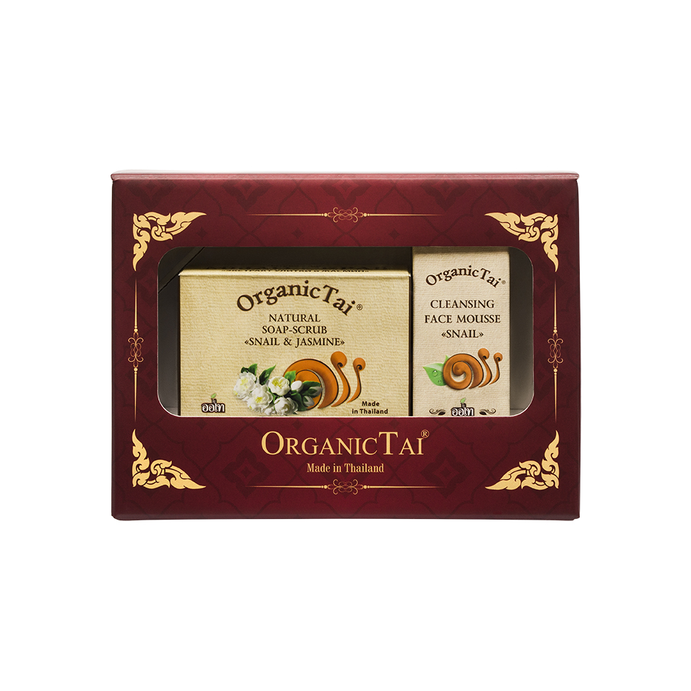 ORGANIC TAI Набор для лица Экстракт улитки и жасмин (пенка для умывания 60 мл, мыло-скраб 100 г)