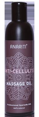 ANARITI Масло массажное антицеллюлитное / Anti cellulite massage oil 250млМасла<br>Это особенное масло, созданное специалистами в области фитотерапии, содержит экстракты растений, обладающих разгревающим эффектом при нанесении на кожу. Экстракты зеленого кофе, имбиря и зеленого чая повышают скорость обмена веществ и активизируют удаление лишнего жира из организма. Активные ингредиенты: кокосовое масло, масло Рисовых отрубей, Кунжутное масло, Имбирное масло, Перечное масло, экстракт зеленых зерен Кофе, экстракт Зеленого чая, экстракт Перца. Способ применения: выполните стимулирующий массаж с помощью  Антицеллюлитного массажного масла , уделяя особое внимание наиболее проблемным зонам тела. Удалите излишки масла с помощью теплых влажных полотенец.<br><br>Объем: 250 мл<br>Вид средства для тела: Массажный<br>Назначение: Целлюлит