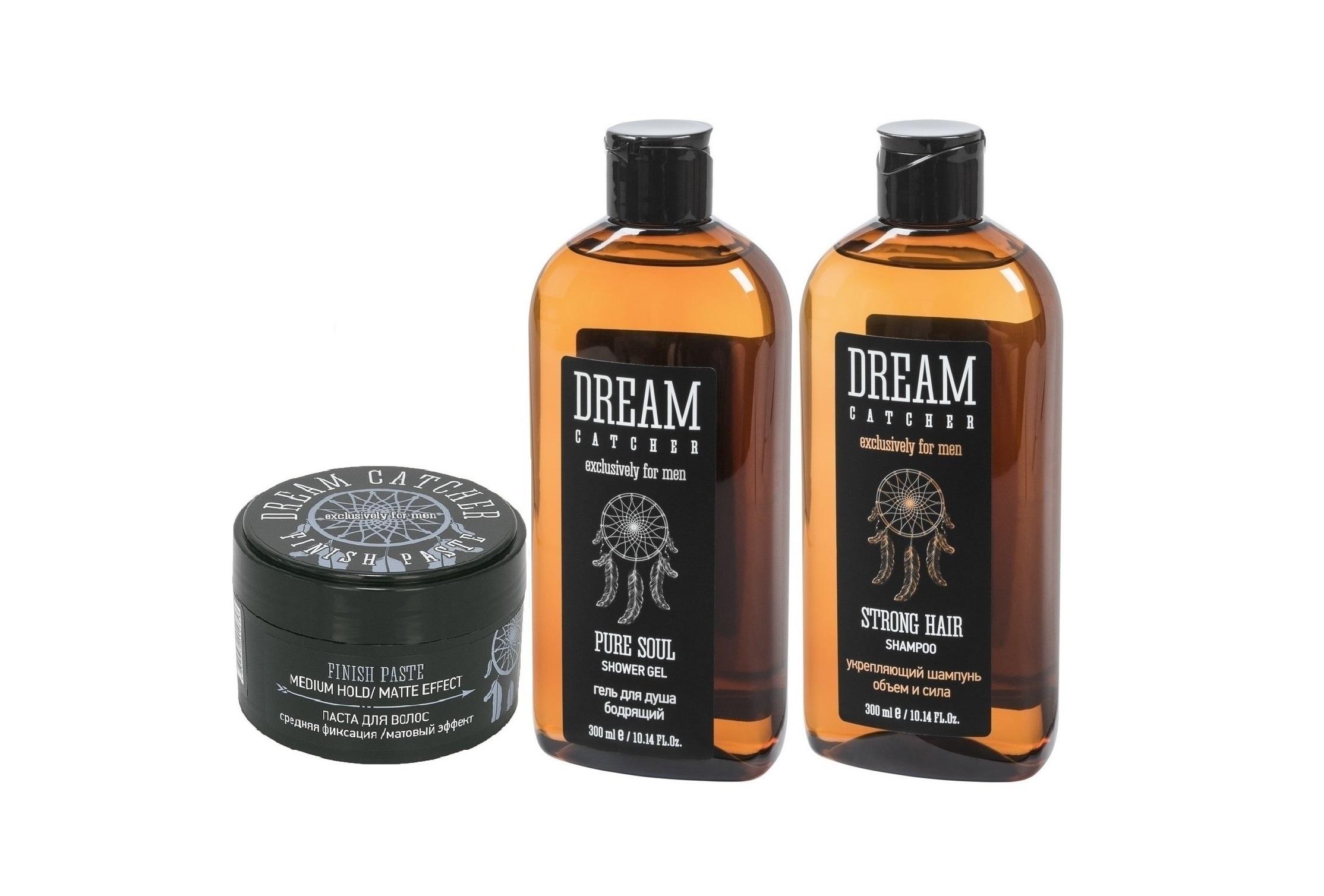 DREAM CATCHER Набор подарочный №1 для мужчин (укрепляющий шампунь 300 мл, гель для душа 300 мл, паста для волос 100 мл) DREAM CATCHER