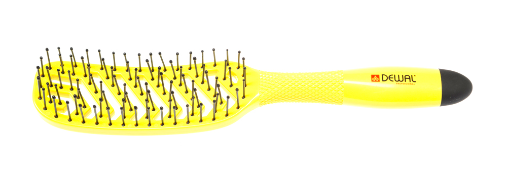 DEWAL PROFESSIONAL Щетка массажная Banana прямоугольная, продувная, узкая, пластиковый штифт, 8 рядов