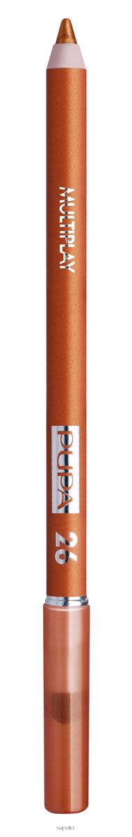 PUPA Карандаш для век с аппликатором 26 Multiplay Eye Pencil, штКарандаши<br>Цвет - золотой песочный. Контурный карандаш для глаз тройного действия с аппликатором для растушёвки Multiplay подчёркивает взгляд с помощью интенсивного и однородного цвета, которой обладает безупречной стойкостью. Мягкая и очень пластичная текстура обеспечивает лёгкое и быстрое нанесение. Карандаш сочетает в себе 3 функции: ПОДВОДКА ДЛЯ ГЛАЗ: позволяет очертить контур глаз и добиться безупречной линии.&amp;nbsp; КАЙАЛ: преображает взгляд с помощью насыщенной линии.&amp;nbsp; МЯГКИЕ ТЕНИ ДЛЯ ВЕК: помогает подчеркнуть глаза, придавая эффект размытости.<br>