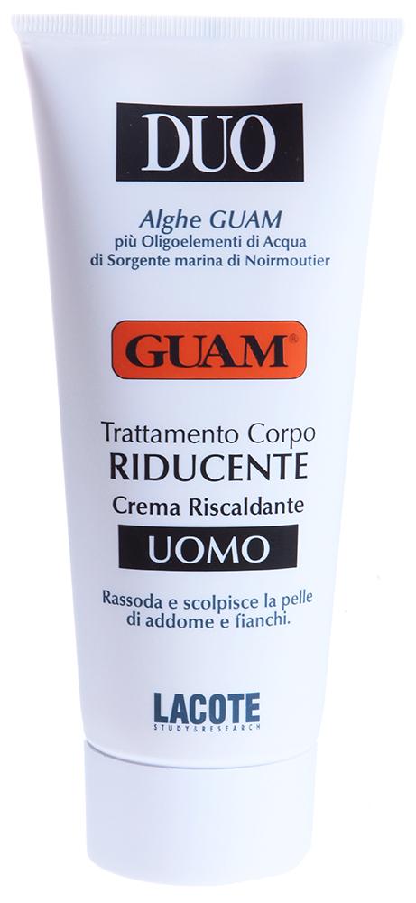 GUAM Крем для уменьшения объемов тела для мужчин / DUO 200млТело<br>Взаимодействие активных компонентов позволяет добиться значительного сокращения жировых отложений в области живота и бёдер, противодействует формированию новых жировых клеток, придаёт коже упругость и эластичность. Покраснение и разогревающее действие способствует глубокому проникновению активных компонентов и является нормальной реакцией в зоне нанесения и зависит от количества нанесённого крема.  Активные ингредиенты: Экстракт зеленой водорослей, ламинария, кофеин, морская вода Нуармутье, метилникотинат, масло подсолнечное, экстракт розмарина, масло оливы.  Способ применения: Наносить на проблемную зону массажными движениями до полного впитывания. Для получения наилучшего результата необходимо использовать средство 2 раза в день, идеально после душа.  Не использовать при чувствительной и повреждённой коже, избегать попадания в глаза и на слизистые оболочки. Мыть руки после использования.<br><br>Объем: 200<br>Пол: Мужской<br>Назначение: Целлюлит