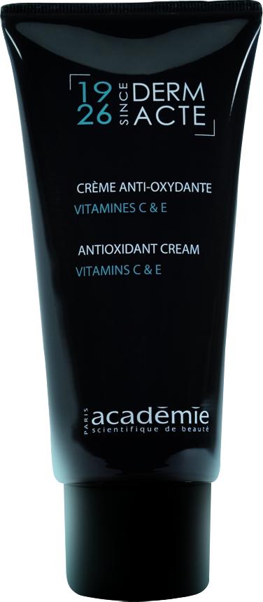 ACADEMIE Крем-антиоксидант с витаминами С и Е / DERM ACTE 50млКремы<br>Витаминный и оживляющий заряд для тусклой, вялой, стрессированной кожи. Активизирует процессы обновления и восстановления, улучшает цвет лица. Насыщает кожу витаминами, поэтому особенно рекомендован для жителей мегаполиса. Крем обладает высокой антиоксидантной активностью, омолаживает кожу, разглаживая мелкие морщины. Результат: Свежая, молодая, красивая и здоровая кожа. Активные ингредиенты: энзимный протеиновый комплекс 5%; экстракт морского укропа 1%; антиоксидантный активный ингредиент 0.01%. Целевой активный ингредиент: витамины Е и С направленного действия 1%. Способ применения:&amp;nbsp;крем рекомендуется использовать 1-2 раза в день. Нанести крем на очищенную и тонизированную кожу и впитать мягкими массажными движениями.<br><br>Вид средства для лица: Энзимный<br>Назначение: Морщины