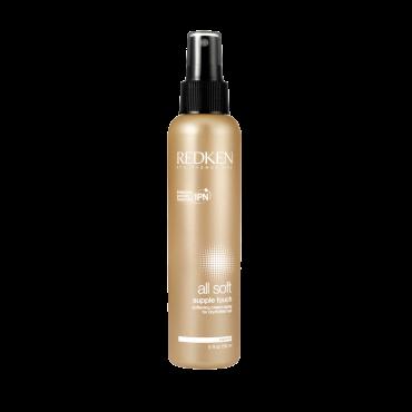 REDKEN Кондиционер-уход несмываемый Сапл Тач / ALL SOFT 150млКондиционеры<br>Несмываемый крем-спрей Soft Supple Touch служит для ухода за сухими и поврежденными волосами. Крем-спрей имеет ультралегкую текстуру. Делает волосы более послушными, эластичными. Волосы становится легче укладывать. Придает волосам естественный блеск и улучшает их структуру.&amp;nbsp;&amp;nbsp; Несмываемый крем-спрей содержит в своем составе уникальный комплекс Interlock Protein Network, который покрывает поверхность волос и придает им гладкость и сияние. IPN восстанавливает нормальную гидрофобность волос, помогает волосам в защите от внешних повреждающих факторов. Всего после одного применения данного крем-спрея ощущается, как волосы становятся мягче и послушнее.&amp;nbsp; Активный состав: Масло Жожоба, протеины пшеницы, potato starch.&amp;nbsp; Способ применения: Распылять непосредственно на подсушенные полотенцем волосы, концентрируясь на середине длины и кончиках волос. Не смывать. Уложить волосы как обычно. Может наноситься повторно.<br><br>Объем: 150<br>Вид средства для волос: Несмываемый