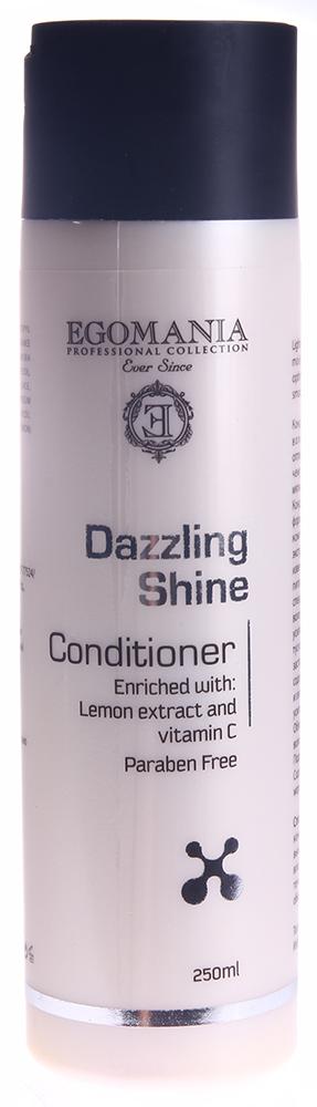 EGOMANIA Кондиционер для придания блеска волосам / DAZZLING SHINE 250млКондиционеры<br>Кондиционер увлажняет и питает волосы, поддерживая в них оптимальный уровень влаги, благодаря чему волосы становятся легкими, мягкими и шелковистыми. Кондиционер создан по уникальной формуле, включающей два активных компонента, усиливающих блеск &amp;ndash; экстракт лимона и витамин C, которые известны своим высоким содержанием питательных веществ. Он разработан специально для того, чтобы питать ваши волосы, восполняя в них влагу. Он также усиливает отражающую способность тусклых или поврежденных волос, заставляя их сиять здоровьем. Продукт содержит масло зародышей пшеницы, известное своей способностью усиливать блеск и мягкость волос. Облегчает расчесывание, не утяжеляя волосы.  Подходит для ежедневного применения. Содержит минералы и воду Мертвого моря.  Активные ингредиенты: Масло семян подсолнечника, сок алоэ барбадензис, масло жожоба, экстракт лимона, витамин C, масло зародышей пшеницы.    Способ применения: Нанесите кондиционер на предварительно вымытые шампунем Dazzling Shine влажные волосы, помассируйте в течение 1-2 минут, затем смойте обильным количеством теплой воды.<br>