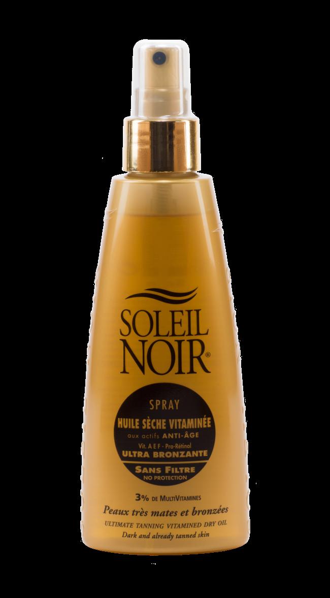 SOLEIL NOIR Масло спрей сухое антивозрастное витаминизированное Ультра-загар / HULE SECHE VITAMINEE 150млСпреи<br>Сухое масло SOLEIL NOIR в формате спрея   идеальный вариант исключительно глубокого питания кожи. Оно создает легкий эффект пленки   результат подтягивающего эффекта, при этом не оставляет липкости. Сухое масло усиливает загар, придает коже матовое сияние, увлажняет и омолаживает ее. Средство подходят для ежедневного ухода за кожей, а также для применения в солярии, поэтому им можно пользоваться в течение всего года, а не только на курорте. Активные ингредиенты:   Витамины А, Е, С и F c жирными кислотами Омега-3 оказывают антиоксидантное действие и предотвращают образование свободных радикалов   Провитамин В5 способствует регенерации, повышению эластичности и смягчению кожи   Масла оливы, зародышей пшеницы, кунжута, вечерней примулы и бурачника питают и восстанавливают   Масло мускусной розы нормализует обменные процессы   Масло моркови улучшает регенерацию Способ применения: нанести перед выходом на солнце или перед посещением солярия. Обновлять слой средства по необходимости.<br>