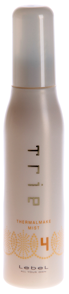 LEBEL Спрей защитный для термо укладки 4 / TRIE THERMALMAKE MIST 4 150млСпреи<br>Защитный спрей для горячей укладки - степень фиксации 4.  Придаёт волосам выразительный объем и шелковистую текстуру.  Предотвращает потерю влаги в волосах в процессе укладки.  Подходит для создания упругих локонов или объемных форм. Выпрямляет вьющиеся от природы волосы.  Защищает волосы от негативных факторов окружающей среды.  SPF 15.  Способ применения: Нанести средство по всей длине на подсушенные полотенцем волосы. Подсушить феном. Приступайте к укладке при помощи щипцов или утюжка.<br><br>Типы волос: Кудрявые