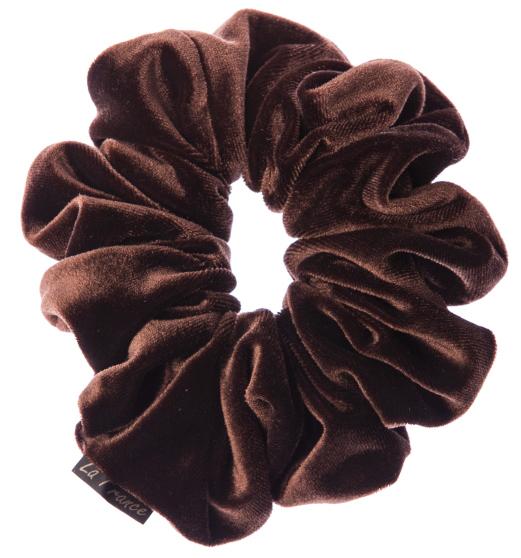LA FRANCE Резинка бархатная, цвет коричневый - Резинки