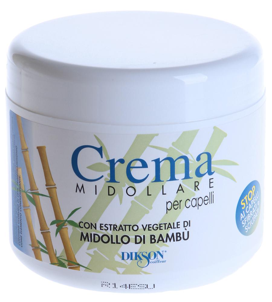 DIKSON Бальзам восстанавливающий с экстрактом бамбука / CREMA MIDOLLARE BAMBU 500млБальзамы<br>Восстанавливающий и питательный крем-бальзам с экстрактом бамбука особенно эффективен для лечения секущихся, ослабленных и безжизненных волос. Отлично восстанавливает волосы, секущиеся кончики, питает, тонизирует, предотвращает выпадение волос. Придает волосам шелковистость и блеск. Активный состав: Экстракт бамбука. Применение: Нанести на 5-20 минут и смыть.<br><br>Тип: крем-бальзам<br>Объем: 500