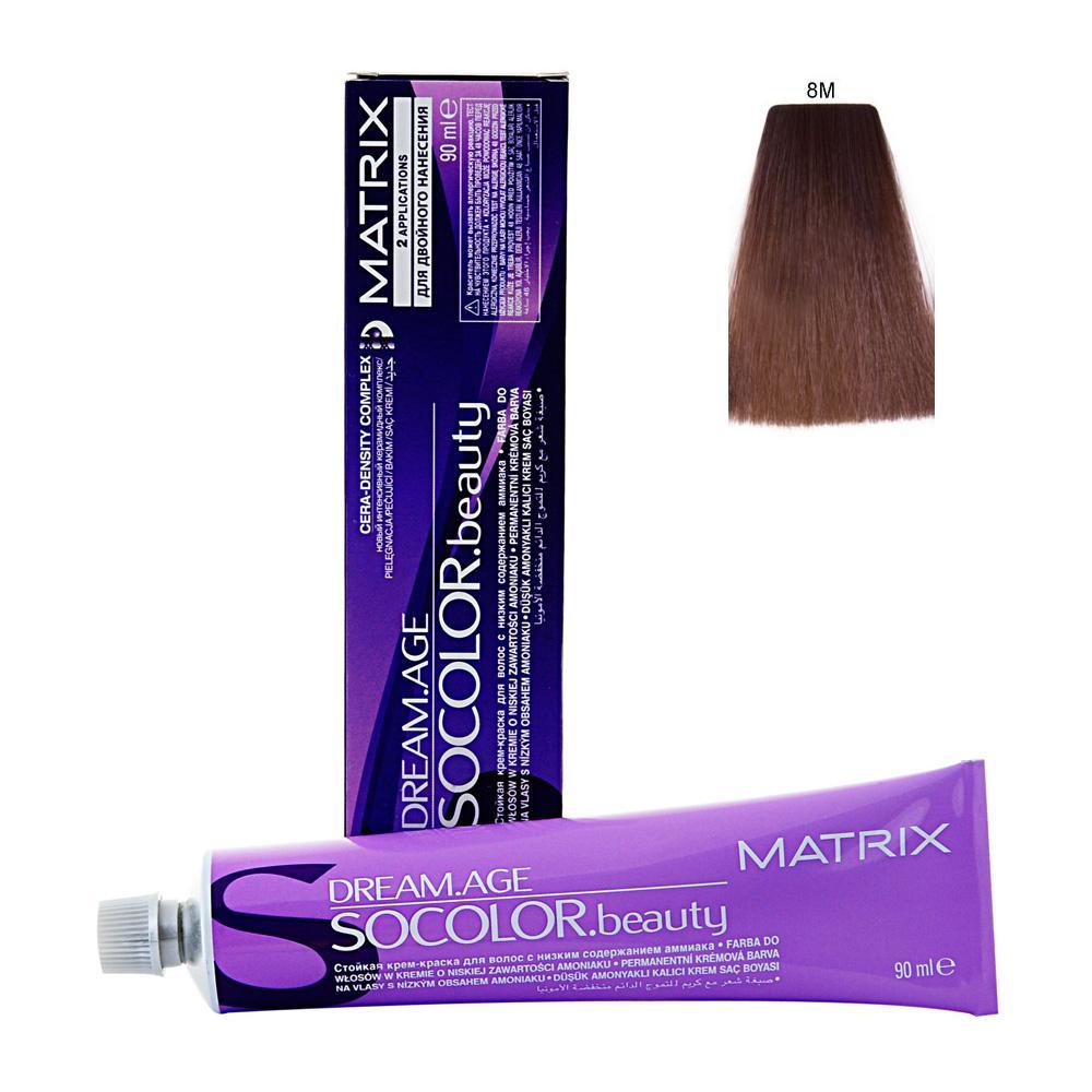 MATRIX 8M краска для волос / СОКОЛОР БЬЮТИ D-AGE 90млКраски<br>Крем-краска Dream Age специально разработана для проведения окрашивания седых волос. Оттенки для волос с содержанием седины более 50%. Применение запатентованной технологии ColorGrip обеспечивает четкий и яркий оттенок, благодаря самонастраивающимся красителям, которые взаимодействуют с натуральным пигментом волоса. Также в состав краски входит кондиционер Cera-Oil, что обеспечивает бережных уход, укрепляет и питает структуру волос. Крем-краска удобно наносится и обладает приятным фруктовым ароматом. Богатый пигментами краситель: 100% закрашивание седины Мультирефлективный цвет Формула с низким содержанием аммиака Технология Pre-Softenung смягчает резистентный седой волос перед окрашиванием Не нужно смешивать с другими оттенками Используется с 6% Крем-Оксидантом Способ применения: смешайте краску с активатором в нужных пропорциях, после чего нанесите смесь на волосы и оставьте на 20-45 минут. После процедуры тщательно смойте краску теплой водой и высушите волосы полотенцем.<br><br>Цвет: Блонд<br>Объем: 90