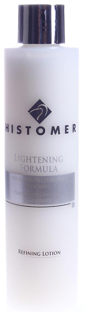 HISTOMER Лосьон осветляющий разглаживающий / Lightening Refining Lotion LIGHTENING FORMULA 200млЛосьоны<br>Разглаживает кожу и делает ее структуру более однородной по цвету и микрорельефу с помощью лакричника (солодки), фермента аспергиллуса, креатина, бетаина и хистомерных клеток растений.  Активные ингредиенты: Экстракты корня дуба черешчатого, цветков акации сенегальской, лакричника (солодки), фермент аспергиллуса, креатин, бетаин, 1-метилгидантоин-2-имид.  Способ применения: Нанести на лицо, шею и декольте ватными дисками легкими массирующими движениями, насухо промокнуть салфеткой.<br>