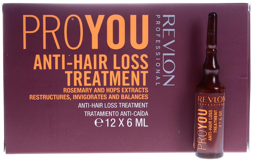 REVLON Средство против выпадения волос / PROYOU ANTI-HAIR LOSS 12*6млАмпулы<br>Proyou Anti-Hair Loss &amp;ndash; это высокоэффективное средство против выпадения волос, придающее волосам силу и делающее их более густыми. Формула с натуральными экстрактами и питательными веществами хмеля и розмарина обеспечивает тройной контроль за здоровьем волос: восстанавливает и изменяет их структуру, балансирует и делает волосы более сильными. Средство от компании Revlon мягко очищает кожу головы, сохраняя при этом природный баланс кожи, что способствует здоровью и активному росту волос. Сверция стимулирует микроциркуляцию крови.  Активные ингредиенты: Экстракты хмеля и розмарина, сверция.  Способ применения: Нанесите небольшое количество средства против выпадения волос от Revlon на влажные, смоченные теплой водой волосы. Помассируйте сначала голову, а затем волосы несколько минут, тщательно распределяя средство. Промойте голову теплой водой.<br><br>Назначение: Выпадение