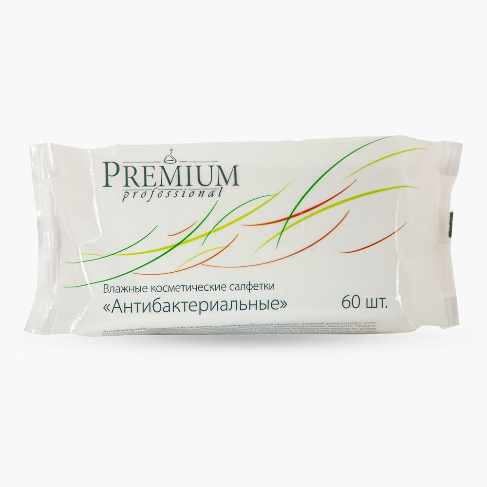 PREMIUM Салфетки влажные антибактериальные / Professional 60шт/упСалфетки<br>Антибактериальные влажные салфетки   дезинфицирующее средство (кожный антисептик) с антимикробной активностью в отношении грамположительных и грамотрицательных бактерий.&amp;nbsp; Активные ингредиенты: хлоргексидин биглюконат. Способ применения:&amp;nbsp;предназначены для обработки рук, а также головок приборов и небольших поверхностей мебели во время проведения косметической процедуры.<br><br>Вид средства для лица: Антибактериальный